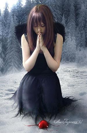 Фото Ангел молится перед сердцем, лежащим на снегу - ana fagarazzi