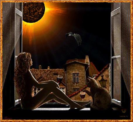 Фото Девушка сидит на подоконнике, рядом кошка с бокалом вина, в небе летает птица, и солнце мечет огненные стрелы