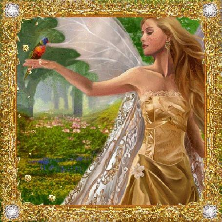 Фото Лесная фея с птицей на руке