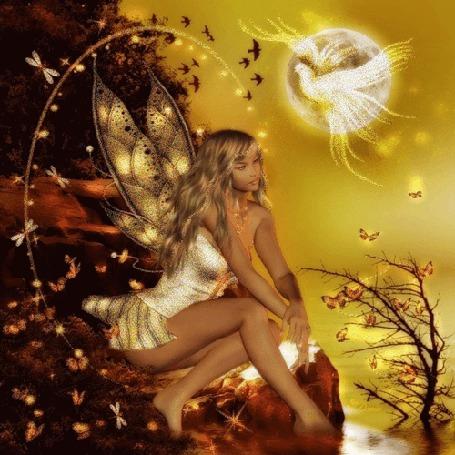 Фото Лесная фея сидит на камне и смотри на золотистых бабочек, на фоне луны виден белый голубь