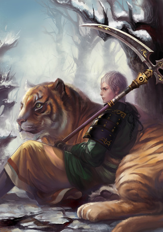 Фото Парень с косой и тигр (© Krista Zarubin), добавлено: 23.08.2012 13:24