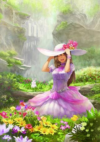 Фото Счастливая девушка на цветочной поляне