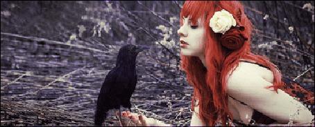 Фото Рыжая девушка с черным вороном на руке, который рассыпается