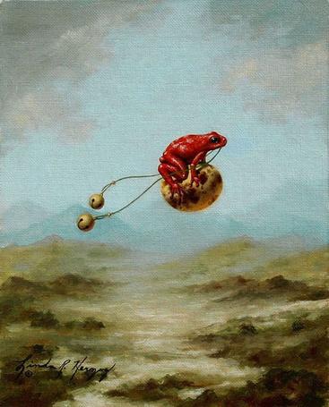 Фото Красная лягушка летит на яйце