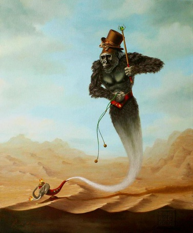 Фото Джин в образе обезьяны вылетает из кувшина