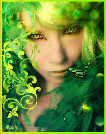 Фото Девушка зелеными волосами и желто=зелеными глазами (Юлия Ч.)