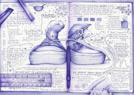Фото Кеды нарисованы на развароте тетради вместе с ручкой, линейкой