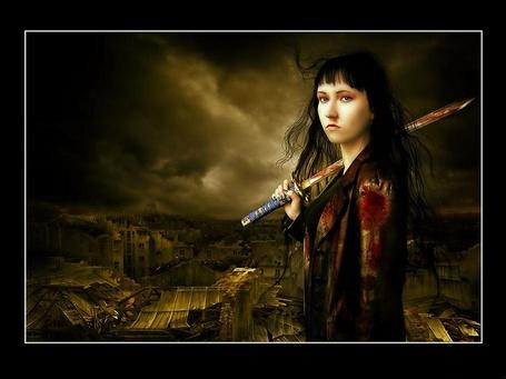 Фото Девушка с окровавленной катаной на фоне разрушенного города (© Anatol), добавлено: 04.09.2012 18:50