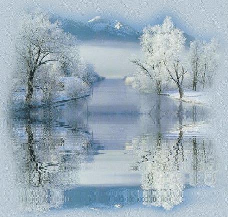 Фото Отражение деревьев, покрытых инеем, в не замёрзшей речке, вдали видны горы (© Anatol), добавлено: 11.09.2012 14:59