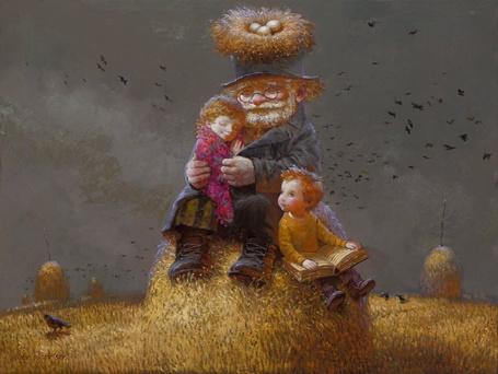 Фото Старик с детьми сидит на стогу сена, на его шляпе птичье гнездо