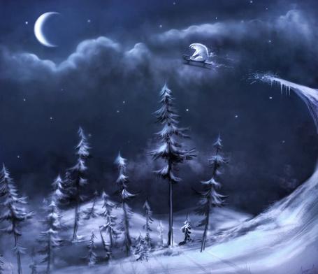 Фото Белый медведь летит на санях по небу над зимним лесом