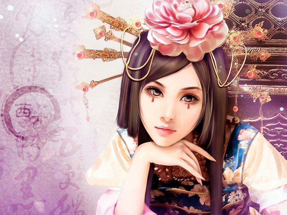 Картинки японки девушки нарисованные