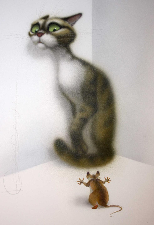 Смешной рисунок кошки-мышки