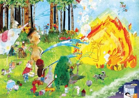 Фото Реклама - мальчик , медведь, слон и другие животные по - пионерски заливают огонь (GoodNites®)