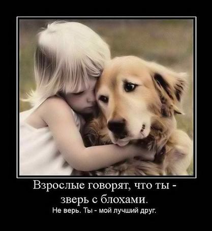 Фото Маленькая девочка обнимает пса (Взрослые говорят, что ты - зверь с блохами. Не верь. Ты - мой лучший друг!)