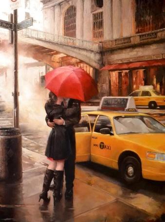 Фото Влюбленная пара целуется под красным зонтиком около такси, художник Daniel Del Orfano