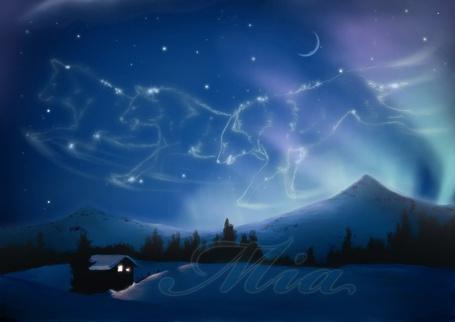Фото Узор из звёзд в образе трёх бегущих волков над снежной долиной (Mia) (© Флориссия), добавлено: 12.10.2012 10:50