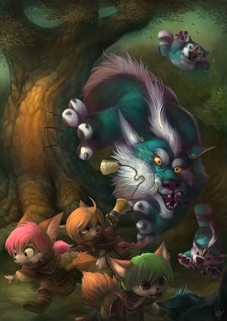 Фото Волк  с волчатами гоняются за смешными белочками (© Anatol), добавлено: 12.10.2012 14:48