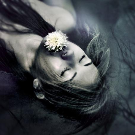 Фото Девушка плывет по холодному пруду с цветком во рту, фотограф Jenn Violetta