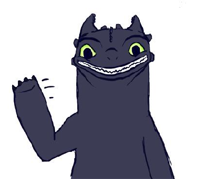 Фото Дракон Беззубик машет приветственно лапой - мультфильм How to train your dragon / Как приручить дракона