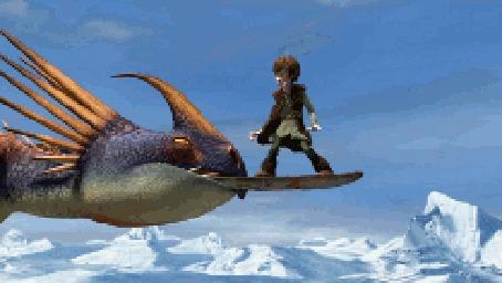 Фото Иккинг падает с дракона - мультфильм Как приручить дракона / How to Train Your Dragon