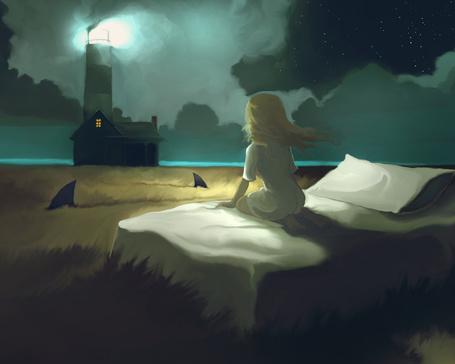 Фото Девочка сидит на кровати, глядя на свет маяка, которая стоит в поле, рядом проплывают акулы