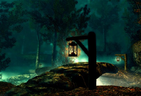 Фото Небольшой мост в темном лесу, по краям стоят фонари (© StepUp), добавлено: 28.10.2012 20:05