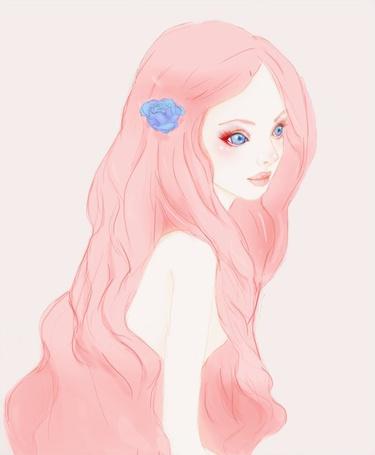 Фото Девушка с голубыми глазами, красными ресницами и розовыми волосами