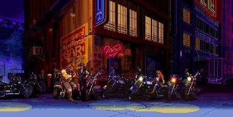 Фото Клуб байкеров в ночном городе