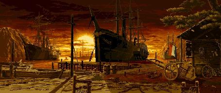 Фото Корабли на закате в старой гавани