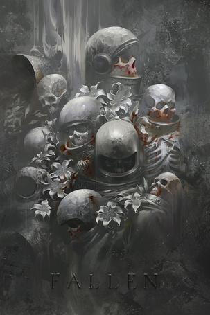Фото Черепа в космических шлемах заросли дикими лилиями, арт Шона Суна / Sean Soong (fallen)