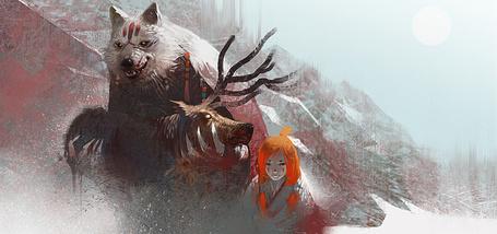 Фото Рыжая девушка и ее волк несут домой добычу - голову оленя, арт Шона Суна / Sean Soong