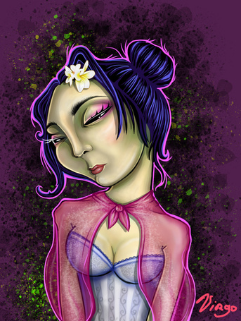 Фото Печальная латинская девушка с цветами в голове, художник Sour Association под псевдонимом Virgo (© Radieschen), добавлено: 14.11.2012 09:23