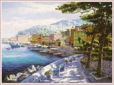 Фото Италия в живописи - пристань у небольшого городка, вдали видны вершины гор, художник Sung Sam Park / Сун Сэм Парк (© Anatol), добавлено: 21.11.2012 17:33