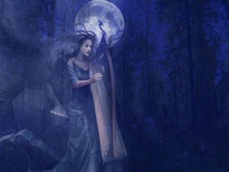 Фото Девушка с арфой в руках в ночном лесу