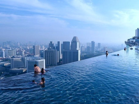 Фото Бассейн на крыше отеля Marina Bay Sands / Марина Бэй Сэндз, Сингапур / Singapore (© ), добавлено: 27.11.2012 16:31