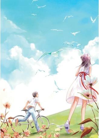 Фото Мальчик с девочкой на лугу смотрят на пролетающих рядом чаек