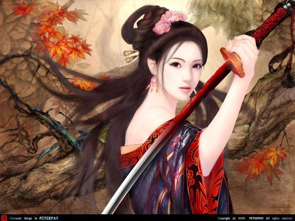 Азиатки с катаной
