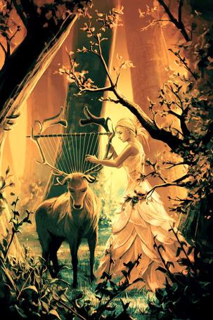 Фото Девушка и олень с натянутыми на его рогах струнами, Кирилл Роландо / Cyril Rolando