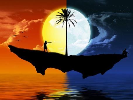 Фото Девушка с одной половины острова, где царит день, тянется к мужчине на другую половину острова, укрытую ночью (© INFERI), добавлено: 03.12.2012 22:12