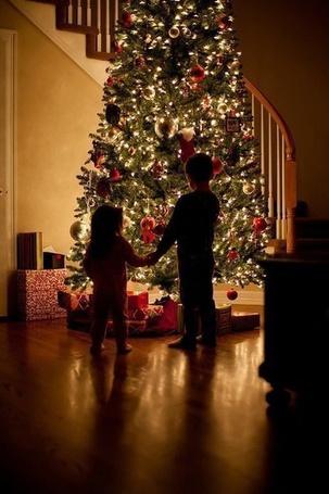 Фото Два ребенка стоят и смотрят на новогоднюю ёлку держась за руки