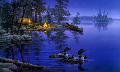 Фото Водоплавающие утки, плывущие по озеру, на берегу которого стоит пришвартованная лодка, палатка и горит костер, рисунок американского художника Darrell Bush / Даррелл Буш