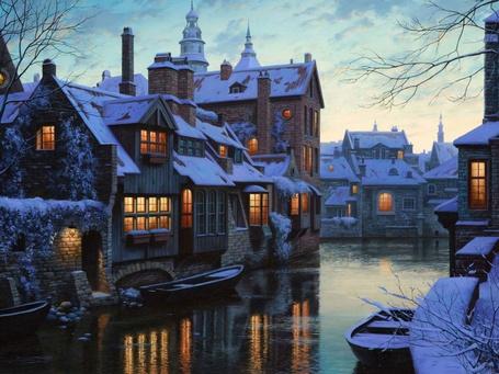 Фото Европейский зимний город Брюгге, Бельгия / Bruges, Belgium с водными каналами, стоящими возле домов лодками
