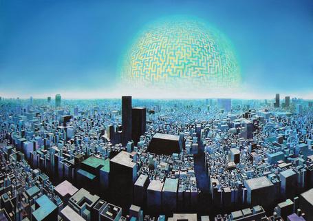 Фото Огромный разросшийся до горизонта город, рядом такая же планета, арт от kakotomirai (© Radieschen), добавлено: 10.12.2012 18:20