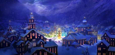 Фото Красивый заснеженный ночной город