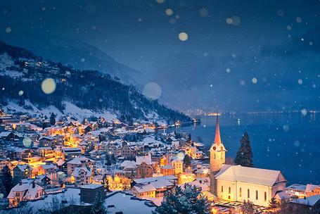 Фото Красивый ночной город под снегом
