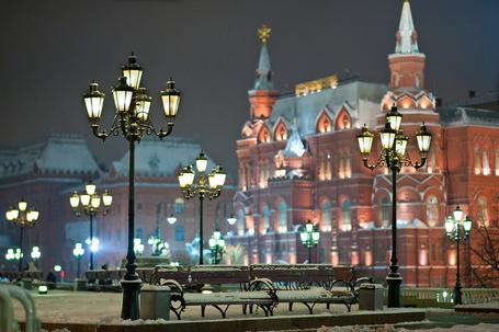 Фото Вид на заснеженный Исторический музей, Москва / Moscow