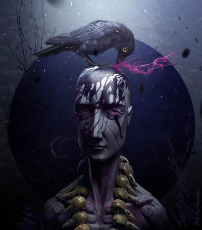Фото Ворон клюёт голову лысого мужчины в ожерелье из вороньих черепов (арт Никиты Веприкова)