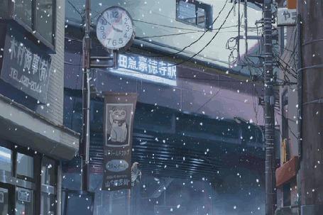 Фото Ветерок колышет вывеску, медленно падает снег - aниме Пять сантиметров в секунду / 5 Centimeters Per Second (2007)