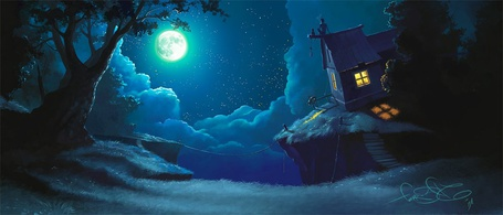 Фото Домик у обрыва в ночи (© Флориссия), добавлено: 17.12.2012 11:06